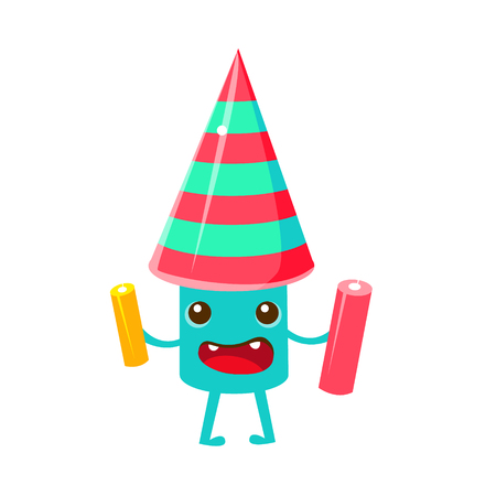 associated: Festive Firework, Happy Birthday And Celebration Party Symbol Cartoon Character. Colorful Humanized Birthday Party Associated Element With Arms And Legs. Illustration