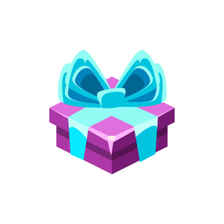Purple Gift Box With Blue Bow With Present, Decorative Wrapped Cardboard Celebration Giftbox. Colorful Isolated Icon With Specially Packed Party Offering. Illustration