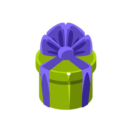 specially: Green Round Gift Box With Present, Decorative Wrapped Cardboard Celebration Giftbox. Colorful Isolated Icon With Specially Packed Party Offering.