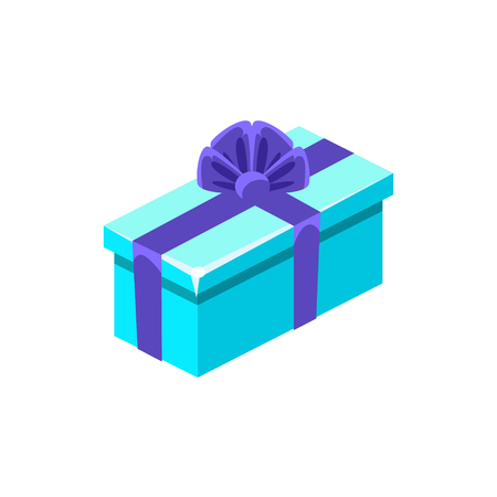specially: Light Blue With Dark Blue Bow Gift Box With Present, Decorative Wrapped Cardboard Celebration Giftbox. Colorful Isolated Icon With Specially Packed Party Offering.