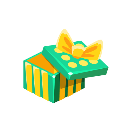 Green And Yellow Empty Gift Box Without Present, Decorative Wrapped Cardboard Celebration Giftbox. Colorful Isolated Icon With Specially Packed Party Offering. Illustration