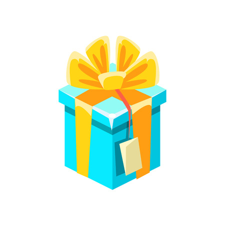 Blue Gift Box With Tag With Present, Decorative Wrapped Cardboard Celebration Giftbox. Colorful Isolated Icon With Specially Packed Party Offering.