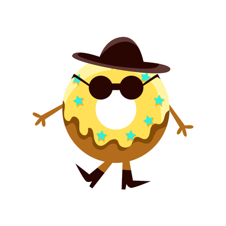 Humanized Doughnut With Yellow Glazing And Black Hat Cartoon Character With Arms And Legs. Sweet Pastry Donut With Sprinkles Isolated Vector Illustration.