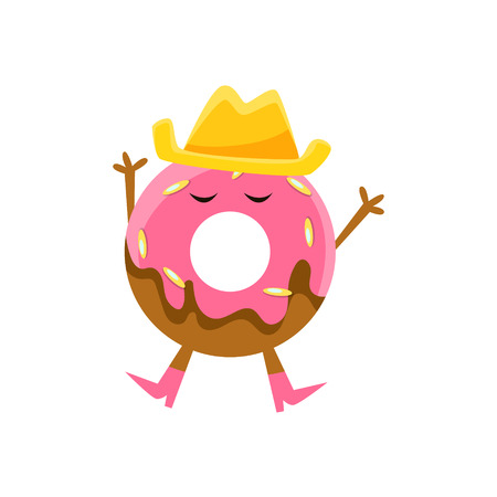 Humanized Doughnut With Pink Glazing And Cowboy Hat Cartoon Character With Arms And Legs. Sweet Pastry Donut With Sprinkles Isolated Vector Illustration.