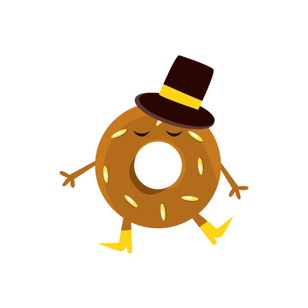 Humanized Doughnut With Brown Glazing And Top Hat Cartoon Character With Arms And Legs. Sweet Pastry Donut With Sprinkles Isolated Vector Illustration.