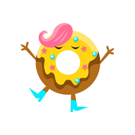 Humanized Doughnut With Yellow Glazing And Pink Hair Cartoon Character With Arms And Legs. Sweet Pastry Donut With Sprinkles Isolated Vector Illustration. Illustration