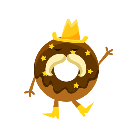 Humanized Doughnut With Chocolate Glazing, Cowboy Hat And Horseshoe Moustache Cartoon Character With Arms And Legs. Sweet Pastry Donut With Sprinkles Isolated Vector Illustration. Illustration