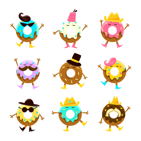 glazed: Humanized Doughnut Cartoon Characters With Arms And Legs With Different Facial Features Set. Sweet Pastry Donut Male And Female Characters With Colorful Glazing And Fashion Accessories.