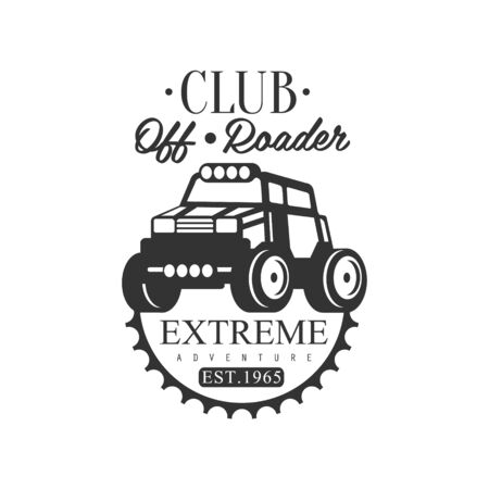 Off-Road Adventure Extreme Club And Rental Black And White Promo Label Design Template. Vector Monochrome Emblem For ATV Four Wheels Renting Service With Text And Car Silhouette.