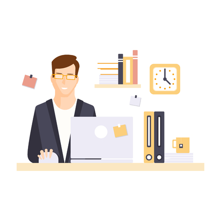 office cubicle: Content Smiling Man Office Worker In Office Cubicle Having His Daily Routine Situation. Vector Primitive Illustration With Company Employee At His Desk. Illustration