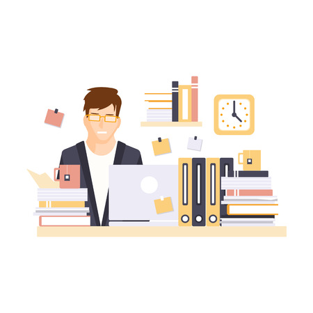 Stressed Man Office Worker Overloaded With Work In Office Cubicle Having His Daily Routine Situation Cartoon Character. Vector Primitive Illustration With Company Employee At His Desk.