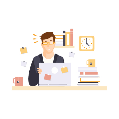 Angry Man Office Worker In Office Cubicle Having His Daily Routine Situation Cartoon Character. Vector Primitive Illustration With Company Employee At His Desk.