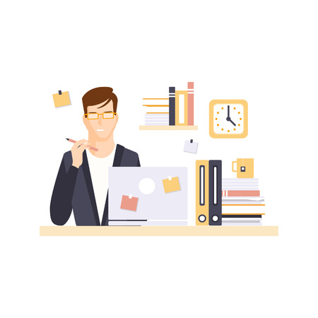 office cubicle: Thinking Man Office Worker In Office Cubicle Having His Daily Routine Situation Cartoon Character. Vector Primitive Illustration With Company Employee At His Desk.