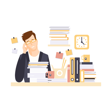 too much: Man Office Worker In Office Cubicle With Headache Having His Daily Routine Situation Cartoon Character. Vector Primitive Illustration With Company Employee At His Desk.