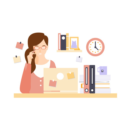 office cubicle: Thinking Woman Office Worker In Office Cubicle Having Her Daily Routine Situation Cartoon Character. Vector Primitive Illustration With Company Employee At Her Desk.