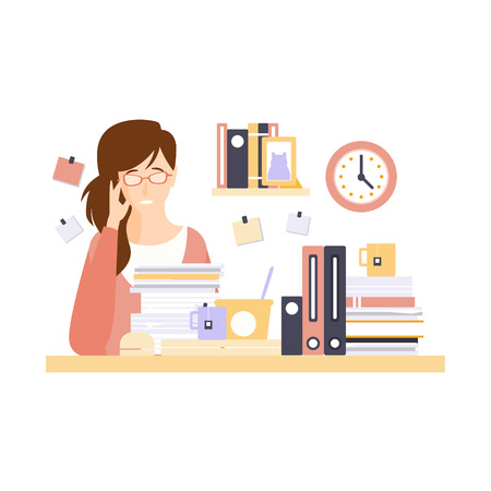 too much work: Woman Office Worker In Office Cubicle With Too Much Work Having Her Daily Routine Situation Cartoon Character. Vector Primitive Illustration With Company Employee At Her Desk. Illustration