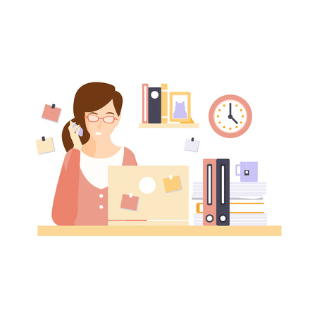 everyday jobs: Busy Woman Office Worker In Office Cubicle Having Her Daily Routine Situation Cartoon Character. Vector Primitive Illustration With Company Employee At Her Desk.