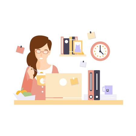 plancton: Oficinista de la mujer que come el almuerzo En Cubículo de la oficina que hace su diario del personaje de dibujos Situación de rutina. Ilustración del vector primitivo con la compañía del empleado en su escritorio.