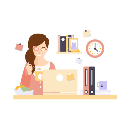 plankton: Woman Office Worker Eating Lunch In Office Cubicle Having Her Daily Routine Situation Cartoon Character. Vector Primitive Illustration With Company Employee At Her Desk.