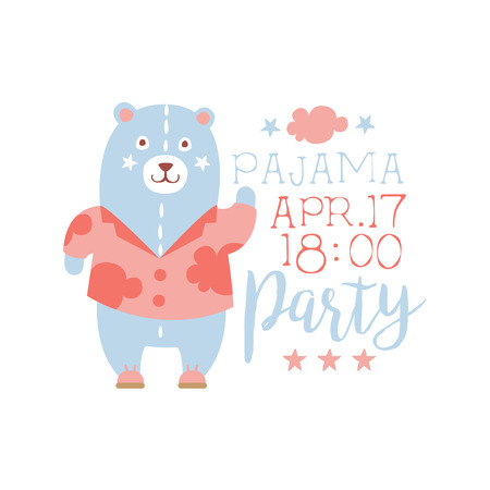slumber: Girly Pajama Party Invitation Card Template With Toy Bear Inviting Kids For The Slumber Pyjama Overnight Sleepover. Stencil For The Welcome Postcard With Night And Bed Symbols In Pastel Colors. Illustration