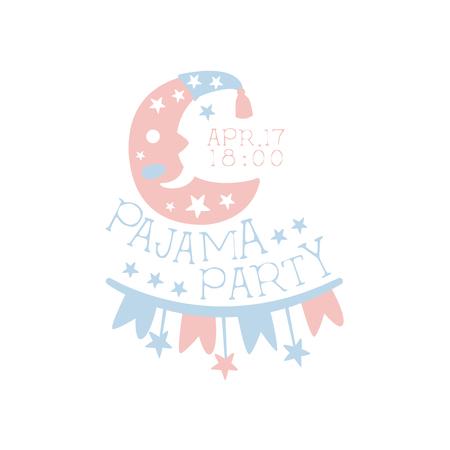 invitando: Plantilla de la tarjeta de la invitación femenina de la fiesta de pijama con la Media Luna Invitar a los niños para los pijamas de los pijamas pijama noche a la mañana. Para la plantilla de la postal de bienvenida Con la noche y la cama Símbolos En colores en colores pastel.