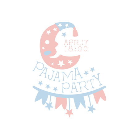 Girly Pajama Party Invitation Card Template With Crescent Inviting Kids For The Slumber Pyjama Overnight Sleepover. Stencil For The Welcome Postcard With Night And Bed Symbols In Pastel Colors. Illustration