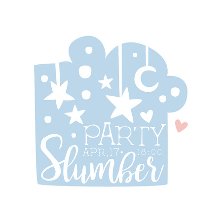 slumber: Girly Pajama Party Invitation Card Template With Night Sky Inviting Kids For The Slumber Pyjama Overnight Sleepover. Stencil For The Welcome Postcard With Night And Bed Symbols In Pastel Colors. Illustration