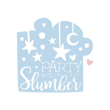 invitando: Plantilla de la tarjeta de la invitación femenina de la fiesta de pijama con el cielo nocturno de invitación infantil para los pijamas de los pijamas pijama noche a la mañana. Para la plantilla de la postal de bienvenida Con la noche y la cama Símbolos En colores en colores pastel. Vectores