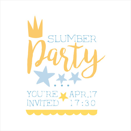 Girly Pajama Party Invitation Card Template With Crown Inviting Kids For The Slumber Pyjama Overnight Sleepover. Stencil For The Welcome Postcard With Night And Bed Symbols In Pastel Colors. Illustration