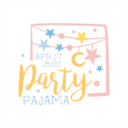slumber: Girly Pajama Party Invitation Card Template With Garlands Inviting Kids For The Slumber Pyjama Overnight Sleepover. Stencil For The Welcome Postcard With Night And Bed Symbols In Pastel Colors.