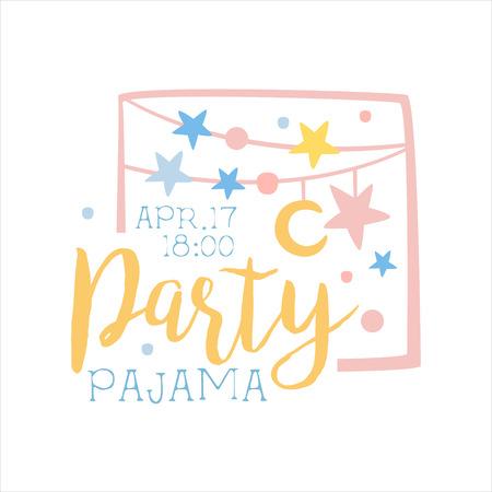 pijamada: Plantilla de la tarjeta de la invitación femenina de la fiesta de pijama con guirnaldas de invitación infantil para los pijamas de los pijamas pijama noche a la mañana. Para la plantilla de la postal de bienvenida Con la noche y la cama Símbolos En colores en colores pastel. Vectores