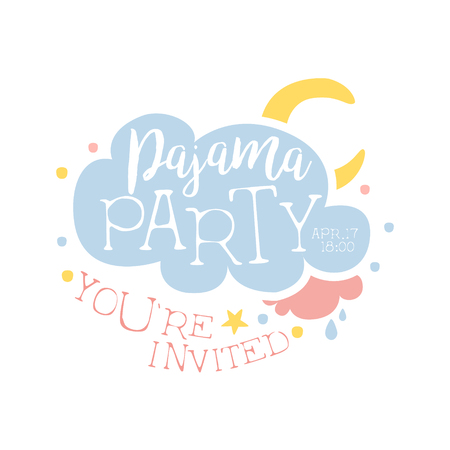 pijamada: Plantilla de la tarjeta de la invitación femenina de la fiesta de pijama con la nube y la luna de invitación infantil para los pijamas de los pijamas pijama noche a la mañana. Para la plantilla de la postal de bienvenida Con la noche y la cama Símbolos En colores en colores pastel.