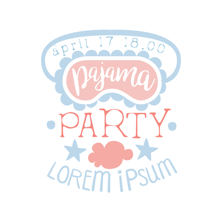 slumber: Girly Pajama Party Invitation Card Template With Sleeping Mask Inviting Kids For The Slumber Pyjama Overnight Sleepover. Stencil For The Welcome Postcard With Night And Bed Symbols In Pastel Colors.