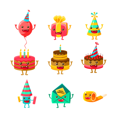 Happy Birthday And Celebration Party Symbols Cartoon Characters Set, Including Cake, Party Hat, Balloon, Party Horn ,Fireworks. Colorful Humanized Party Associated Elements With Arms Legs. Ilustrace