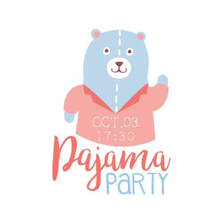 slumber: Girly Pajama Party Invitation Card Template With Teddy Bear Inviting Kids For The Slumber Pyjama Overnight Sleepover. Stencil For The Welcome Postcard With Night And Bed Symbols In Pastel Colors.