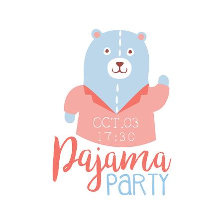 pijamada: Plantilla de la tarjeta de la invitación femenina de la fiesta de pijama con osito de peluche de invitación infantil para los pijamas de los pijamas pijama noche a la mañana. Para la plantilla de la postal de bienvenida Con la noche y la cama Símbolos En colores en colores pastel.