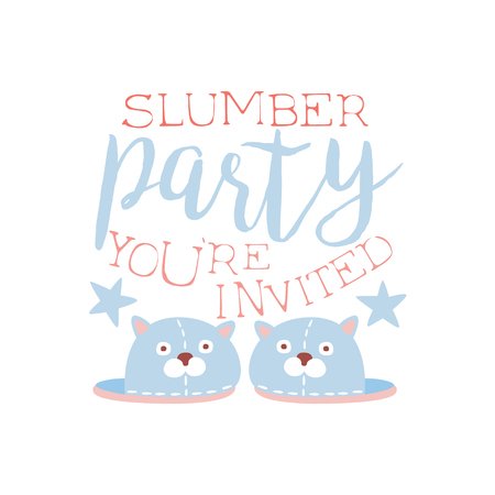 pyjama: Girly Pajama Party Invitation Card Template With Pair Of Slippers Inviting Kids For The Slumber Pyjama Overnight Sleepover. Stencil For The Welcome Postcard With Night And Bed Symbols In Pastel Colors.