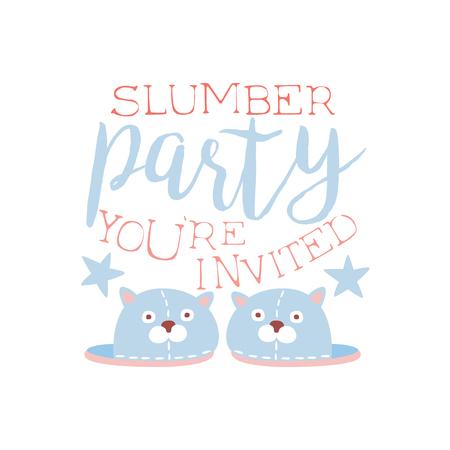 pijamada: Plantilla de la tarjeta de la invitación femenina de la fiesta de pijama con un par de zapatillas de invitación infantil para los pijamas de los pijamas pijama noche a la mañana. Para la plantilla de la postal de bienvenida Con la noche y la cama Símbolos En colores en colores pastel.