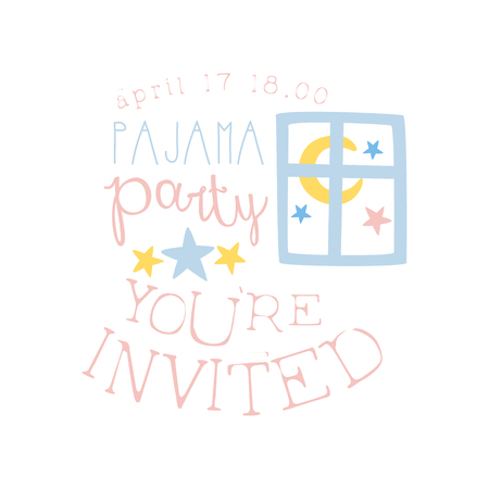 pyjama: Girly Pajama Party Invitation Card Template With Night Window Inviting Kids For The Slumber Pyjama Overnight Sleepover. Stencil For The Welcome Postcard With Night And Bed Symbols In Pastel Colors. Illustration