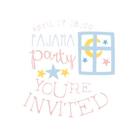 pijamada: Plantilla de la tarjeta de la invitación femenina de la fiesta de pijama con la ventana Noche Invitar a los niños para los pijamas de los pijamas pijama noche a la mañana. Para la plantilla de la postal de bienvenida Con la noche y la cama Símbolos En colores en colores pastel.