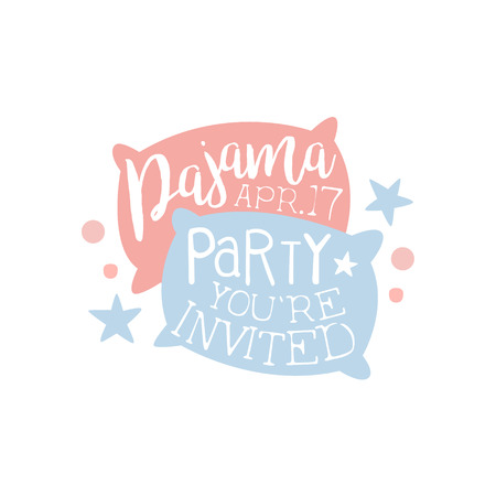 date night: Girly Pajama Party Invitation Card Template With Two Pillows Inviting Kids For The Slumber Pyjama Overnight Sleepover. Stencil For The Welcome Postcard With Night And Bed Symbols In Pastel Colors. Illustration