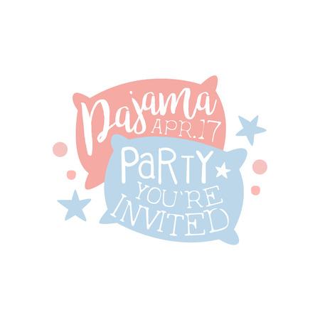 pijamada: Plantilla de la tarjeta de la invitación femenina de la fiesta de pijama con dos almohadas de invitación infantil para los pijamas de los pijamas pijama noche a la mañana. Para la plantilla de la postal de bienvenida Con la noche y la cama Símbolos En colores en colores pastel. Vectores