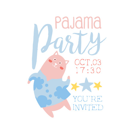 pijamada: Girly Pajama Party Invitation Card Template With Cat Inviting Kids For The Slumber Pyjama Overnight Sleepover. Stencil For The Welcome Postcard With Night And Bed Symbols In Pastel Colors.