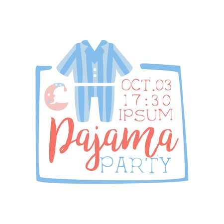 pyjama: Girly Pajama Party Invitation Card Template With Square Frame Inviting Kids For The Slumber Pyjama Overnight Sleepover. Stencil For The Welcome Postcard With Night And Bed Symbols In Pastel Colors.