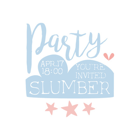 slumber: Girly Pajama Party Invitation Card Template With Stars Inviting Kids For The Slumber Pyjama Overnight Sleepover. Stencil For The Welcome Postcard With Night And Bed Symbols In Pastel Colors. Illustration
