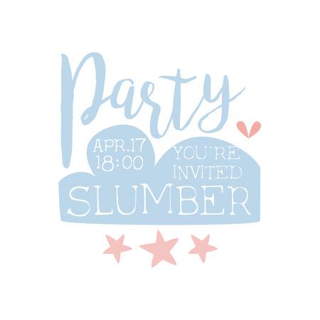 invitando: Plantilla de la tarjeta de la invitación femenina de la fiesta de pijama con las estrellas de invitación infantil para los pijamas de los pijamas pijama noche a la mañana. Para la plantilla de la postal de bienvenida Con la noche y la cama Símbolos En colores en colores pastel.