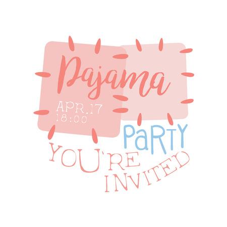 pijamada: Plantilla de la tarjeta de la invitación femenina de la fiesta de pijama con un paño Parches invitando a los niños para los pijamas de los pijamas pijama noche a la mañana. Para la plantilla de la postal de bienvenida Con la noche y la cama Símbolos En colores en colores pastel. Vectores