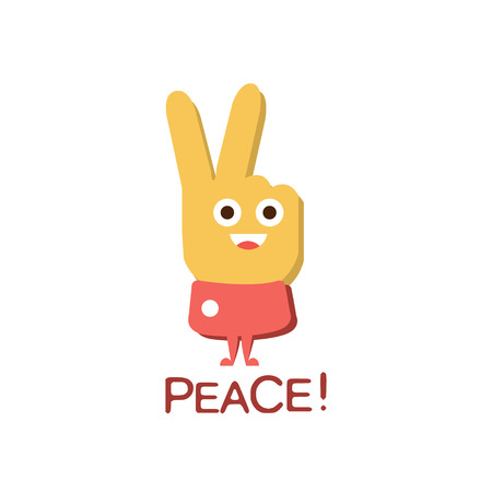 primeval: Peace Gesture, Word And Corresponding Illustration, Cartoon Character Emoji With Eyes Illustrating The Text. Primitive Symbol Emoticon For Messages Flat Vector Icon.