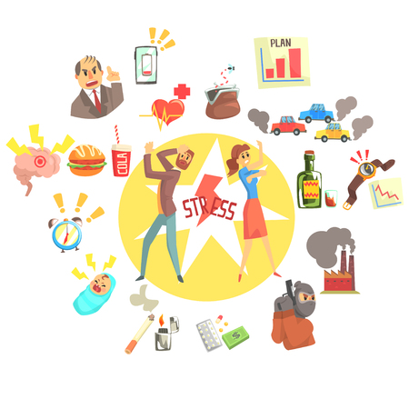 Stressed Man And Woman Surrounded With Different Stress Factors External And Lifestyle Related. Stressful Situations And Causes Attacking People In Every Day Life Vector Illustration. 向量圖像