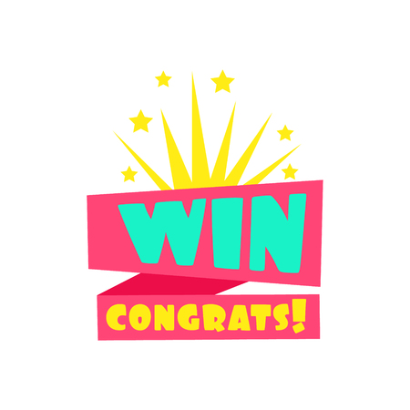 Win Congratulations Sticker Design Template For Video Game Winning Finale With Fireworks. Graphic Flat Vector Message With Text Saying Win! Congrats And Victory Symbols